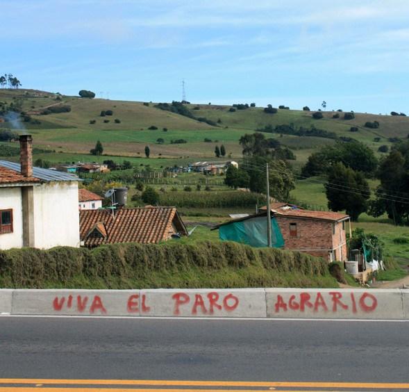 Graffiti vid vägkanten på landsbygden