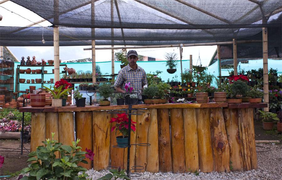 Kassan där Carlos säljer sina blommor